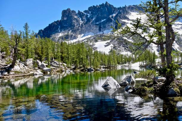 sunlit alpine forest, clear lake and granite mountain. - leavenworth washington stock photos and pictures