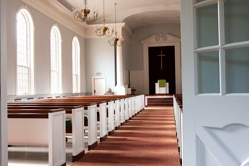 Doorway to sunlit chapel
