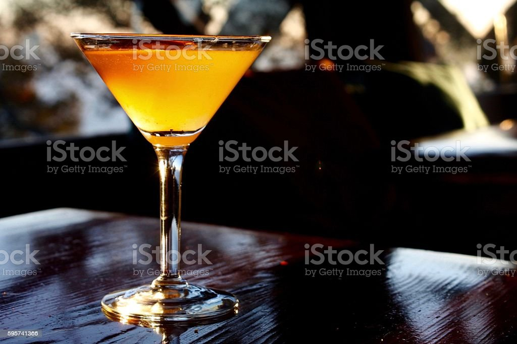 Sunlit Cocktail in a Martini Glass stock photo