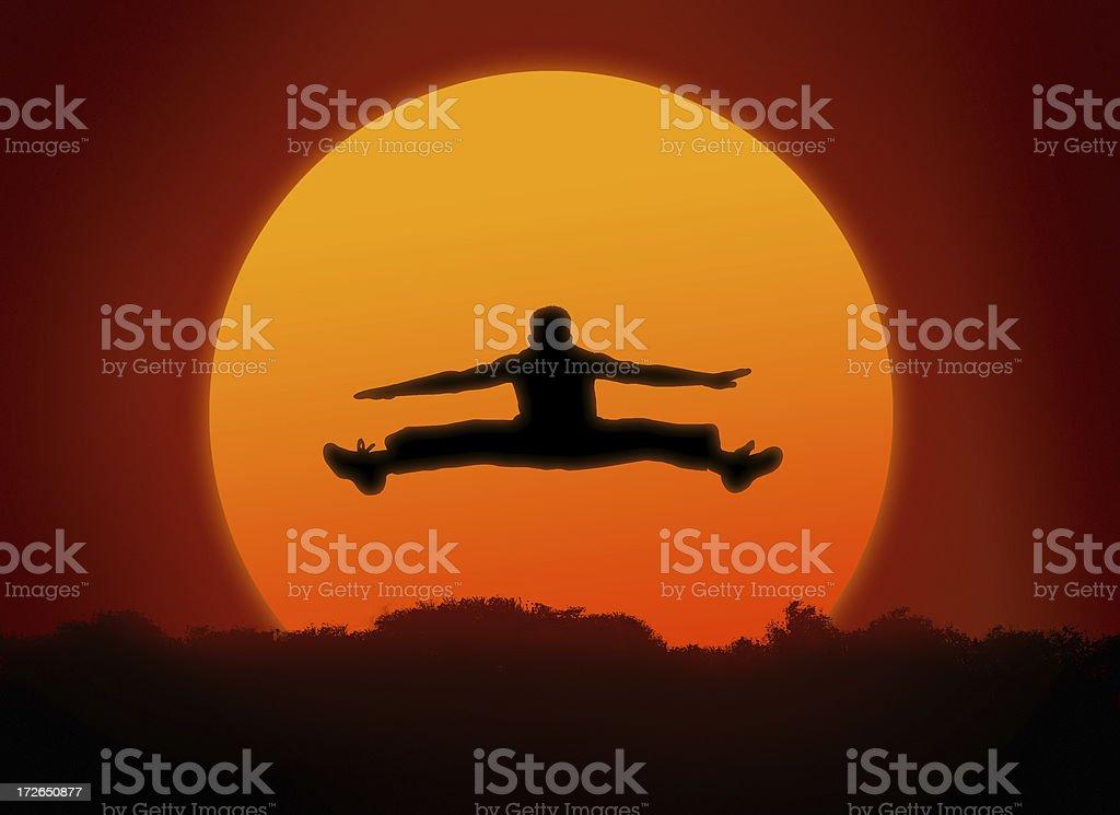 sunlit jumps 2 stock photo