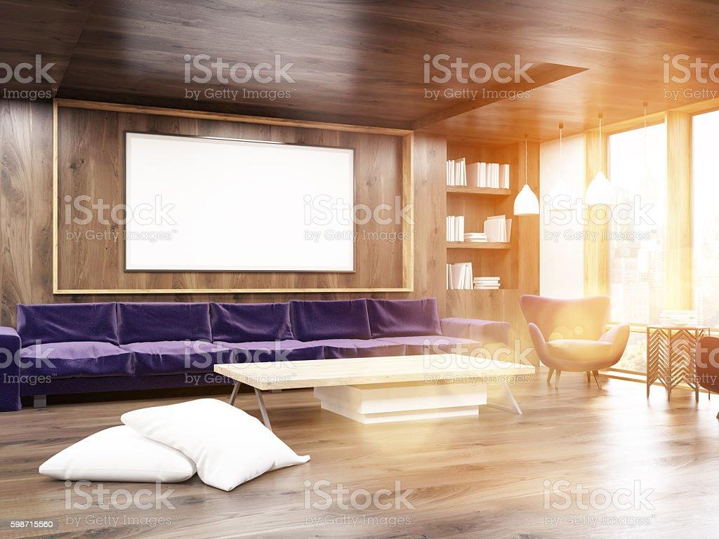 Sunlit living room stock photo