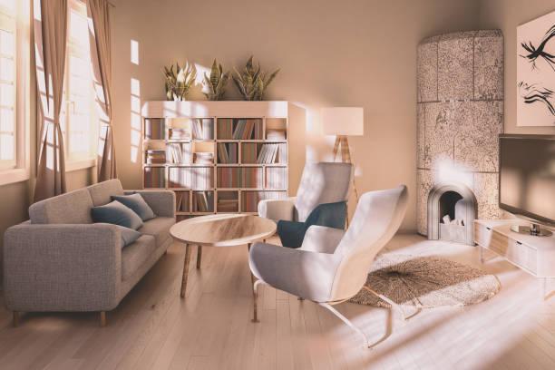 sonnendurchfluteten modernen wohnzimmer - couchtisch metall stock-fotos und bilder