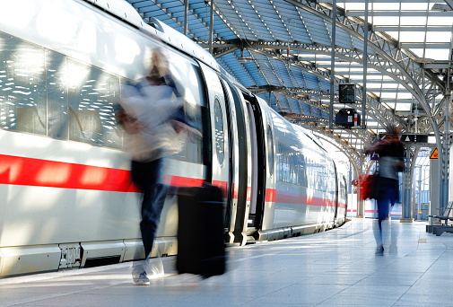 German ICE fast train on a platform