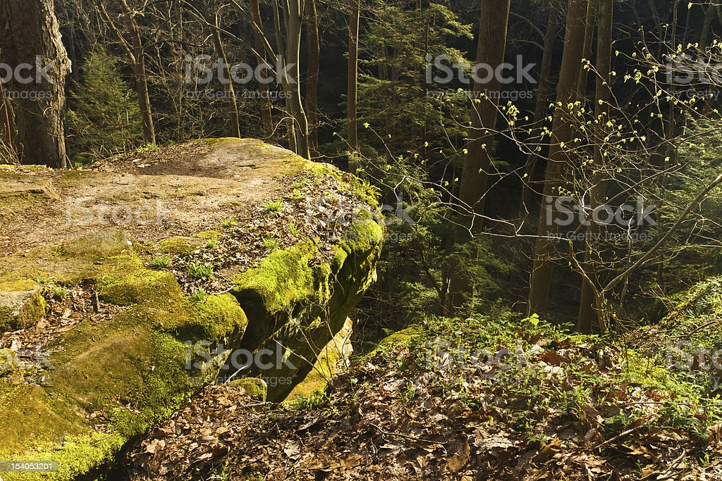 sunlit rocky promontory, Cantwell Cliffs stock photo