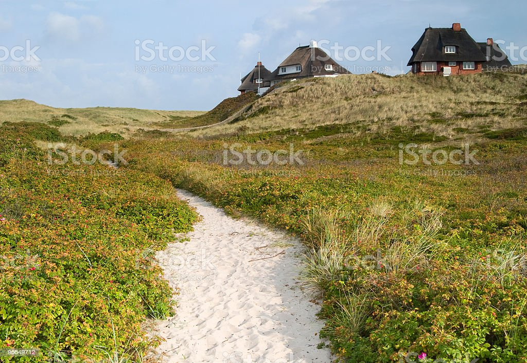 Sunlit sand path across green dunes towards thatched roof cottages. stock photo
