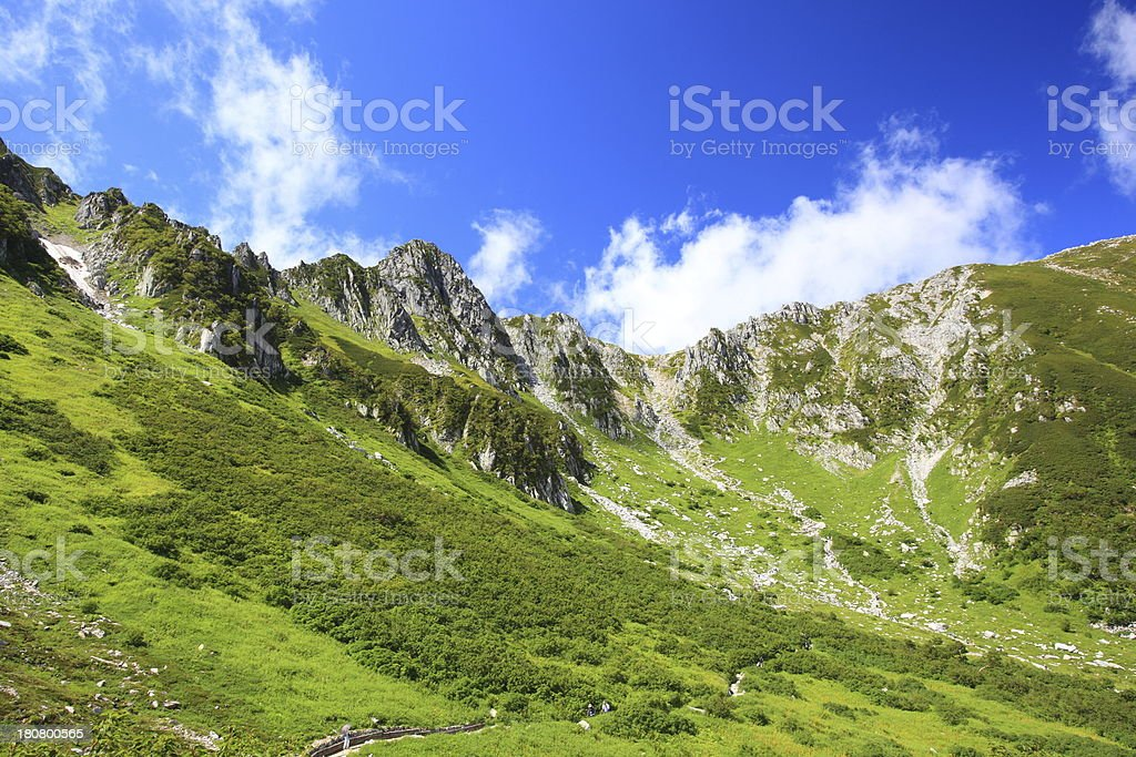 Sunlit slope view of Japan's Senjyojiki Carl Alps stock photo