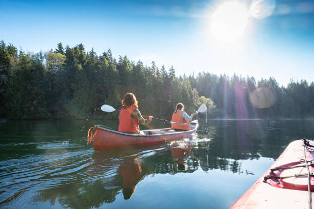 POV, Sunlit Summer Kayaking with Women Canoeing in Wilderness Inlet Multi-ethnic women (mature mother and teen daughter) ocean canoeing in rural Bamfield, Vancouver Island, British Columbia, Canada. canoeing stock pictures, royalty-free photos & images