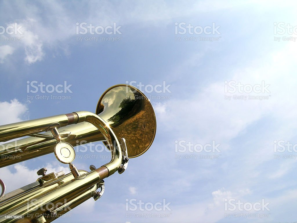 Sunlit trumpet royalty-free stock photo
