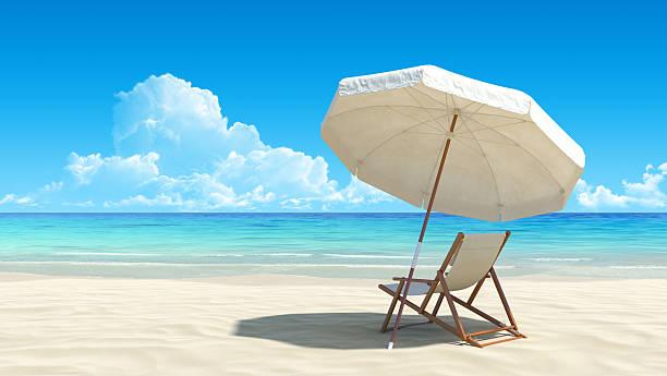 sunlounger und sonnenschirm auf einsamen tropischen strand - sun chair stock-fotos und bilder