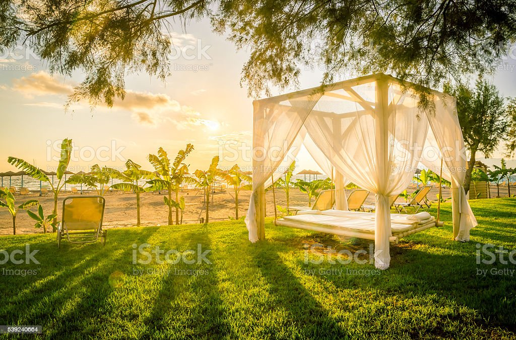 Sunlounger at the beach royalty-free stock photo