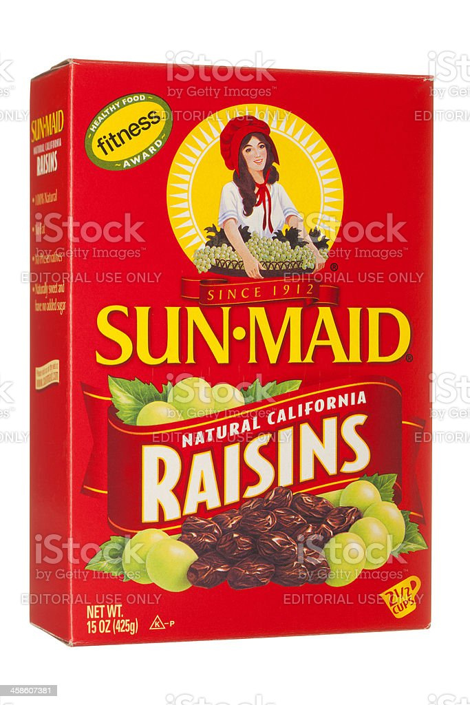 Sun-Maid California Raisins stock photo