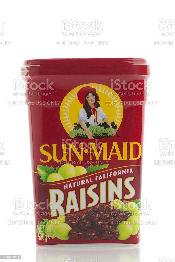 Sunmaid raisin box on white background royalty-free stock photo