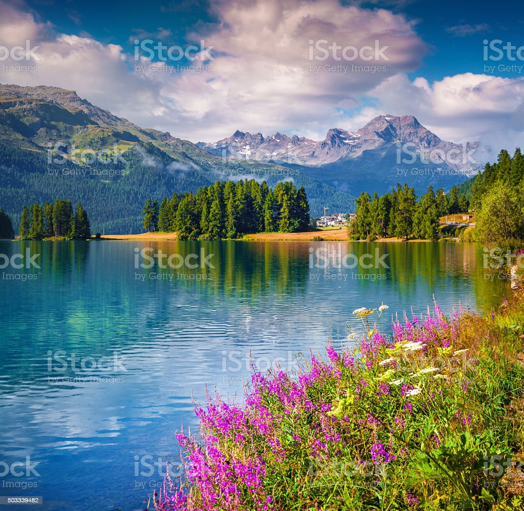 Sunne summer scene on the Champferersee lake. stock photo
