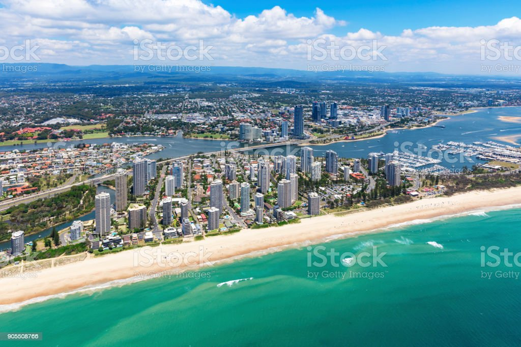 Sunny aerial view of Main Beach and Southport looking inland on the Gold Coast stock photo