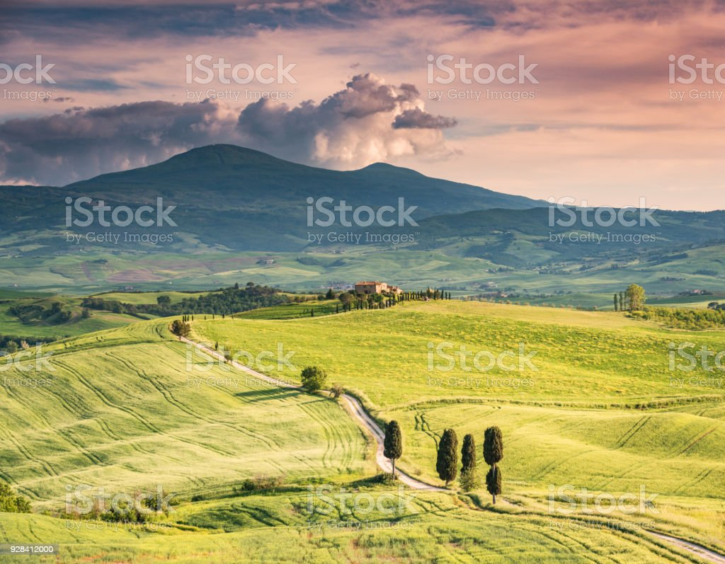 Sunny afternoon in Tuscany stock photo