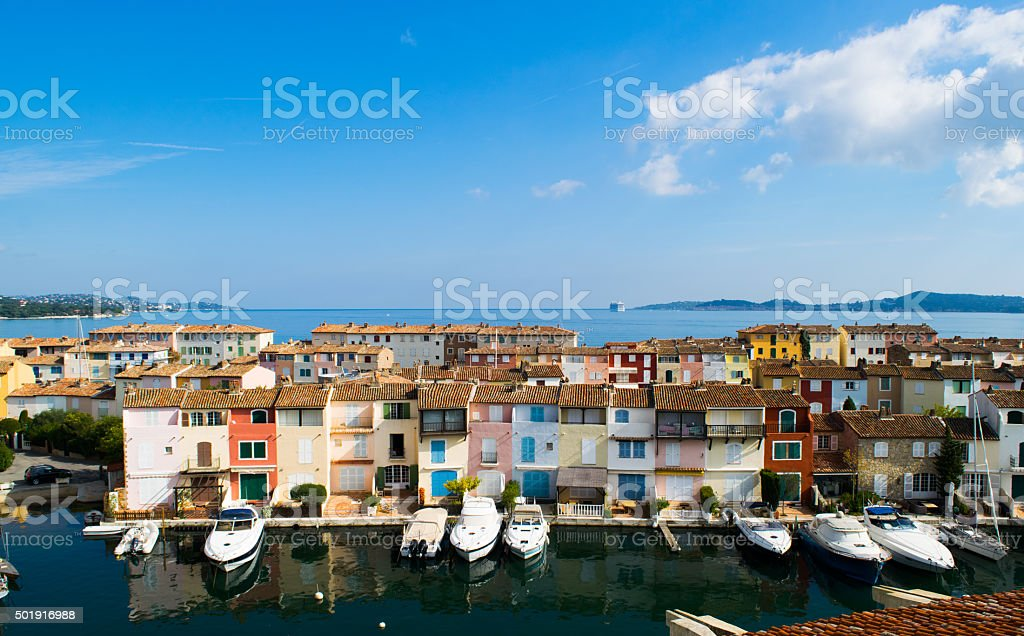 Sunny afternoon view of colorful buildings in Port Grimaud royalty-free stock photo