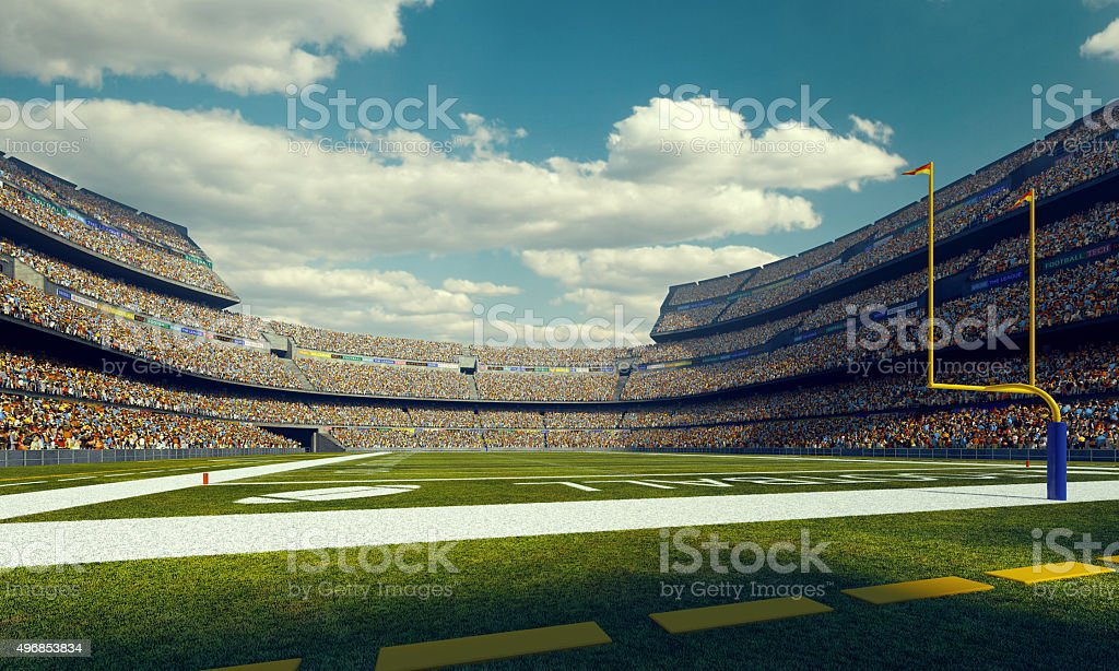 Sunny american football stadium stock photo