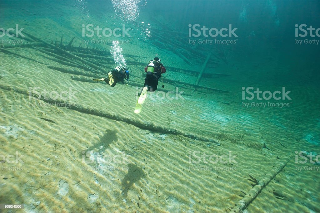 Sunny and crystal clear Austrian Sameranger Lake with Divers royalty-free stock photo