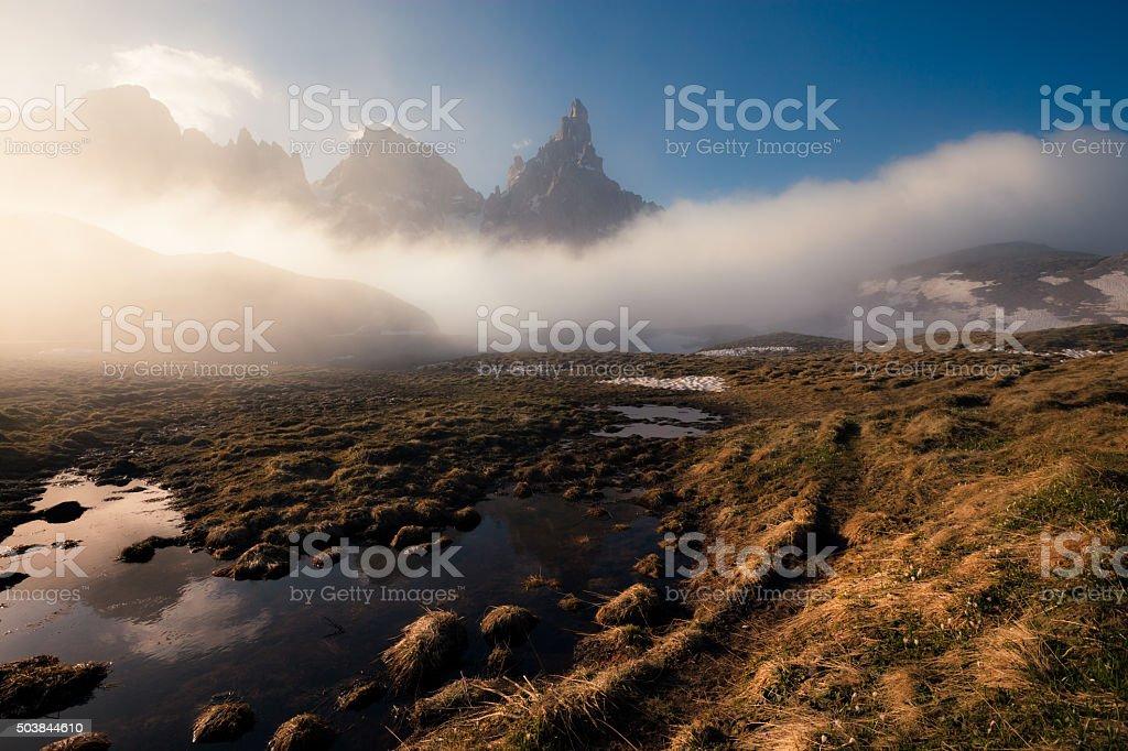 Sunny and foggy morning at the lake stock photo