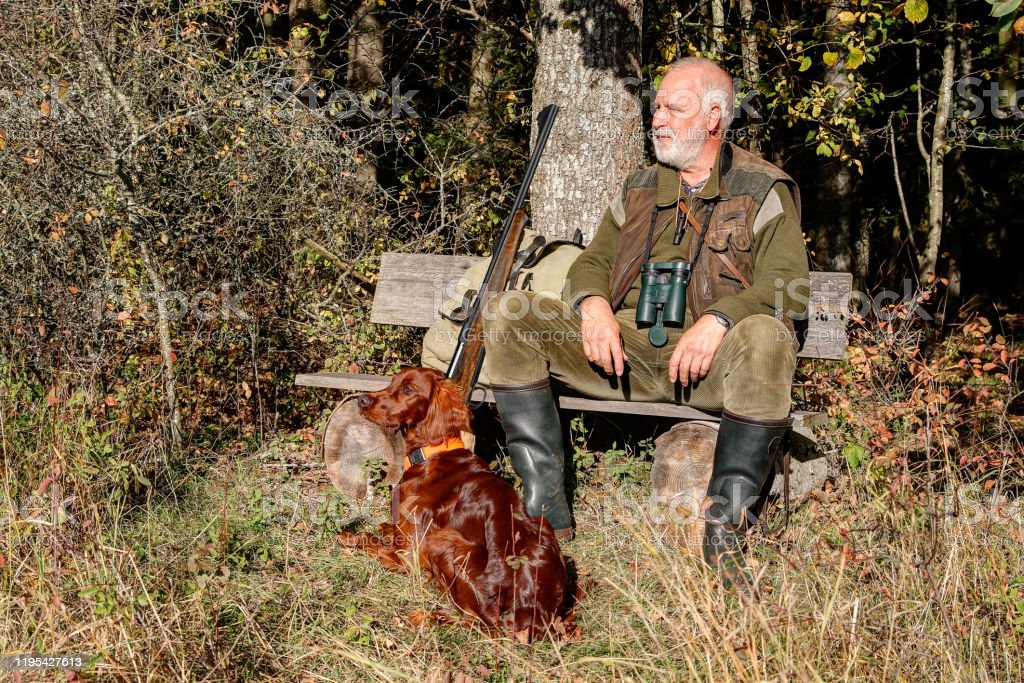 Sunny autumn day in the hunting area - Royalty-free Adult Stock Photo