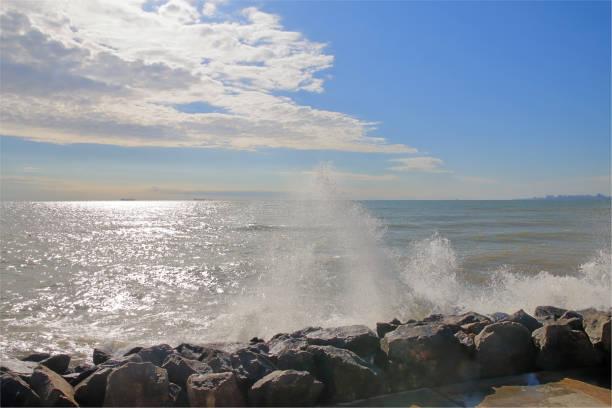 Sunny autumn day on the Black Sea coast.
