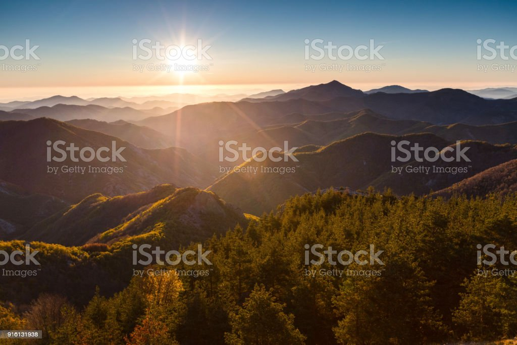 Sunny autumn morning in the mountain stock photo