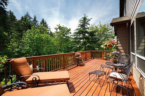 Sunny Back Deck stock photo