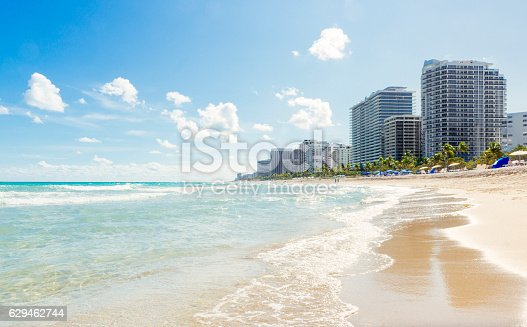 This is a horizontal color photograph of Bal Harbour buildings viewed from the beach with Atlantic Ocean water. Palm trees line the shore. Photographed from a low angle with a Nikon D800 DSLR camera in Miami, Florida.