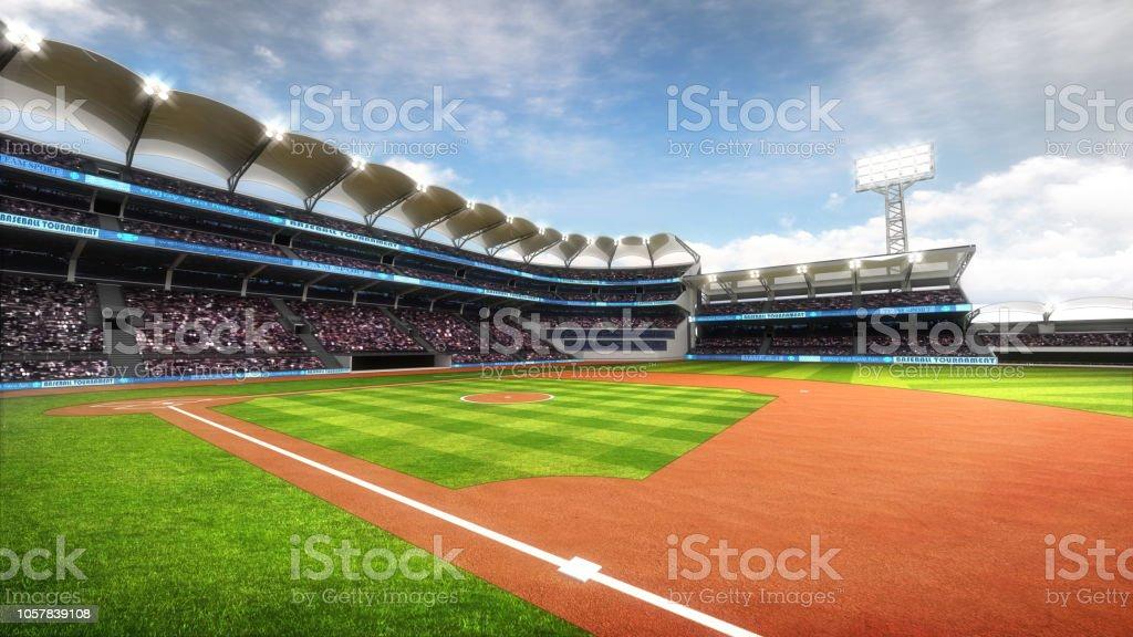 Estadio de béisbol soleado con fans en luz del día - foto de stock