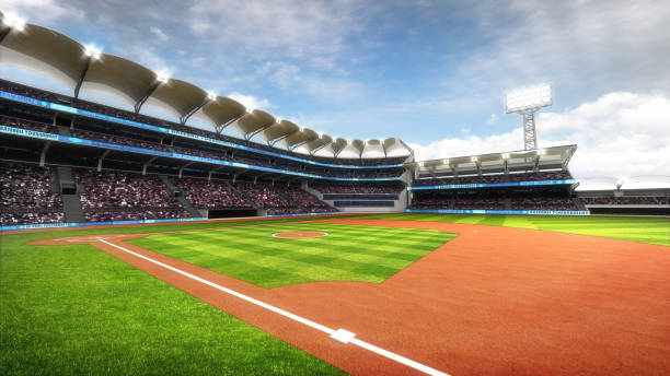 sunny baseball stadium with fans at daylight stock photo