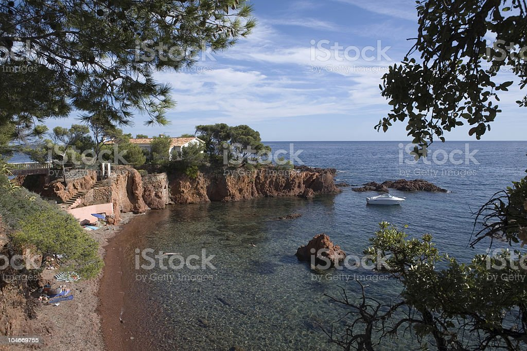 sunny bay along the coast between Saint-Raphaël and Cannes stock photo