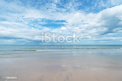 Sunny beach and clouds sky blurred abstract background