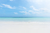 istock Sunny beach and turquoise sea with clear sky background 1271255060