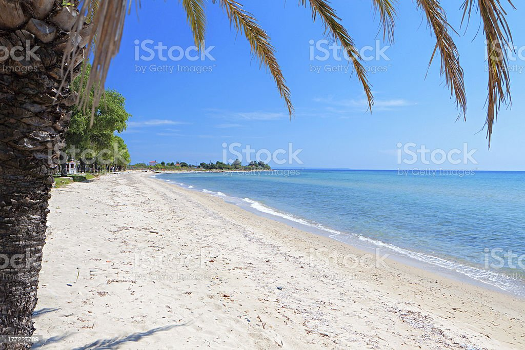Sunny beach at Halkidiki, Greece stock photo