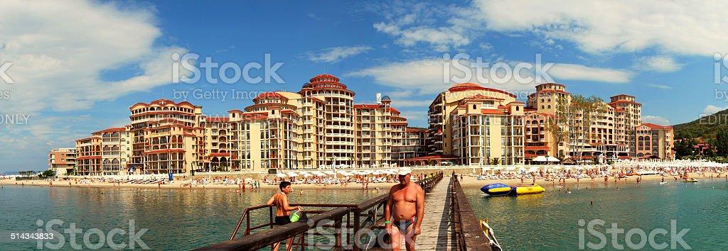 Sunny beach bay panorama stock photo