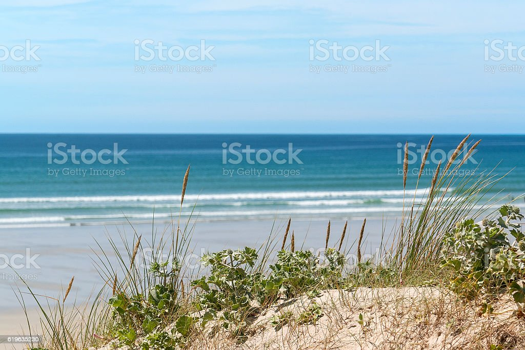 sunny beach in Brittany stock photo