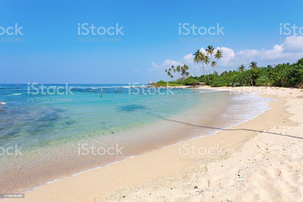 Sunny beach near Mirissa, Sri Lanka royalty-free stock photo