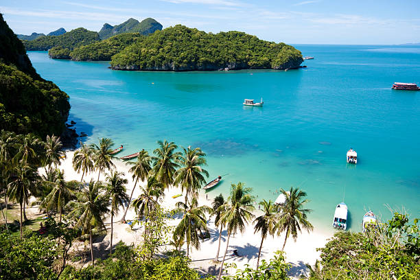 hermoso paradise beach en el parque nacional angthong, koh samui, thailand - beach in thailand fotografías e imágenes de stock