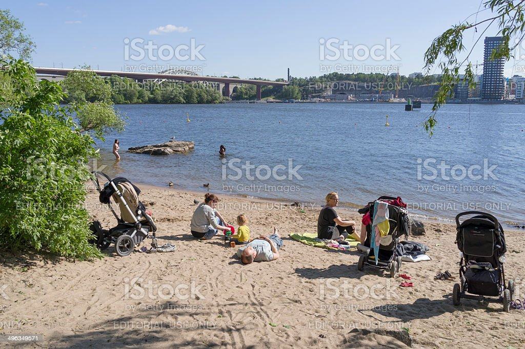 Sunny beach on Stockholm's Sodermalm stock photo