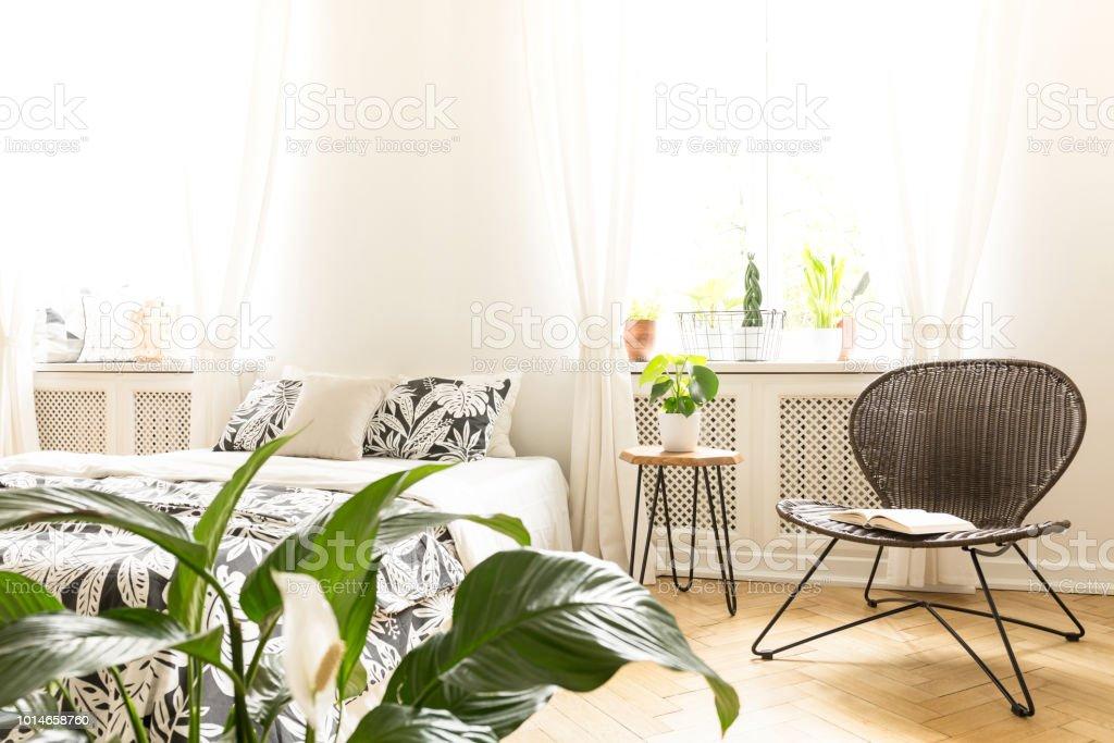 Sonniges Schlafzimmer Einrichtung Mit Einem Bett Einem ...