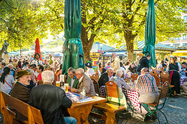 sunny beer garden in Munich, Bavaria, Germany stock photo
