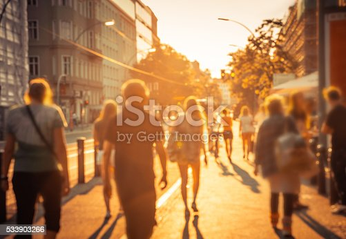 istock sunny Berlin Street life, defocused image 533903266