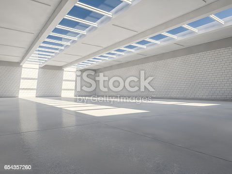 istock Sunny big open area with windows. 3D rendering. 654357260