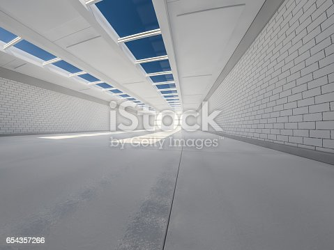 istock Sunny big open area with windows. 3D rendering. 654357266