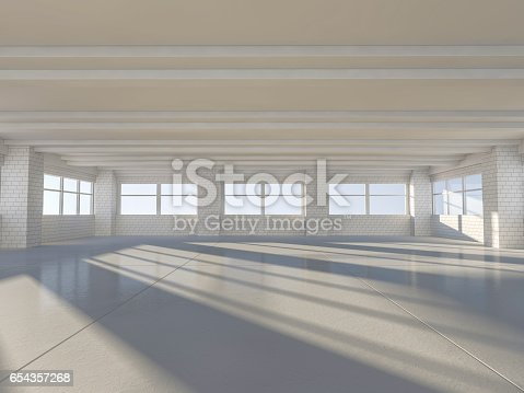 istock Sunny big open area with windows. 3D rendering. 654357268