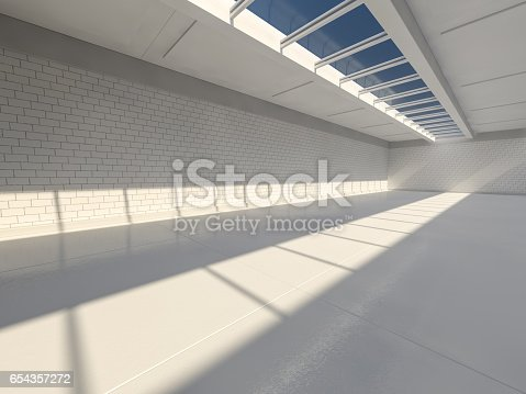 istock Sunny big open area with windows. 3D rendering. 654357272