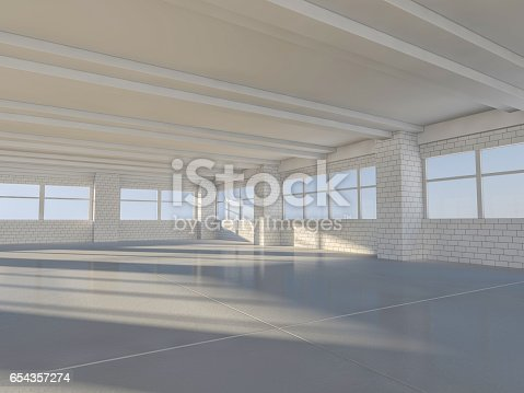 istock Sunny big open area with windows. 3D rendering. 654357274