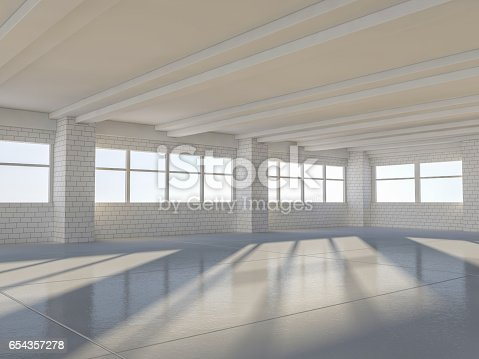 istock Sunny big open area with windows. 3D rendering. 654357278