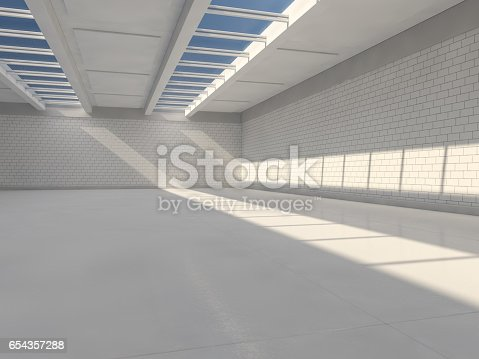 istock Sunny big open area with windows. 3D rendering. 654357288