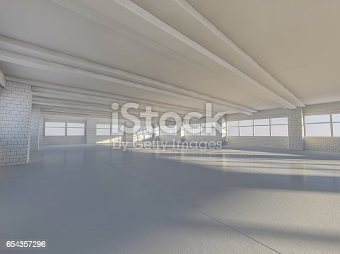 istock Sunny big open area with windows. 3D rendering. 654357296